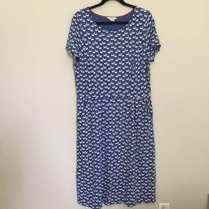 NWOT Boden Swan Print Phoebe Jersey Dress LONG
